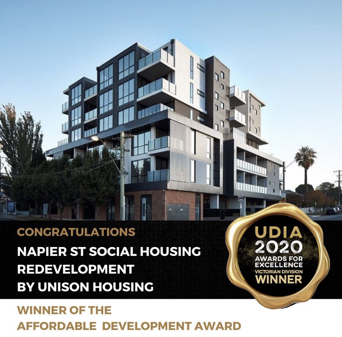 Unison's Footscray social housing development wins two UDIA Awards for Excellence